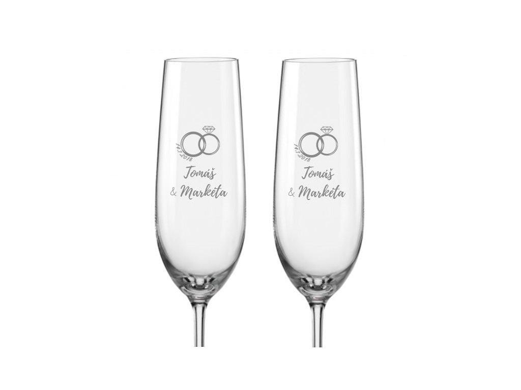 Svatební skleničky na sekt Prstýnek s drahokamem, 2ks