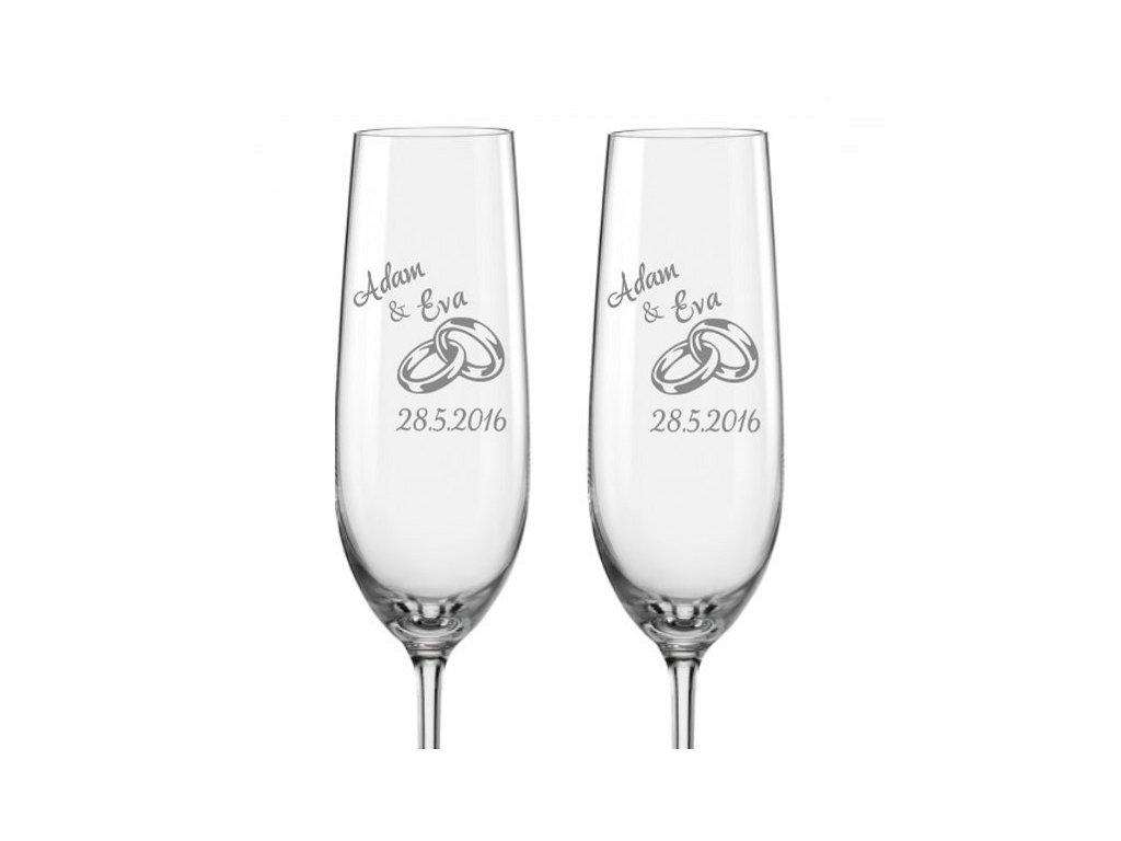 Svatební skleničky na sekt Prstýnky, 2ks