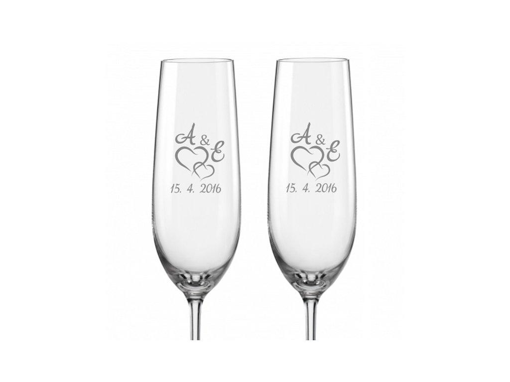 Svatební skleničky na sekt Spojená srdce s monogramem, 2ks