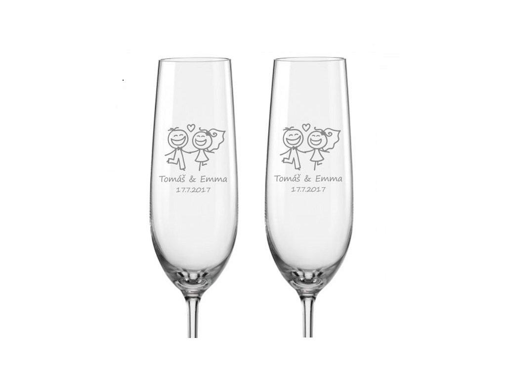 Svatební skleničky na sekt Veselí novomanželé, 2ks