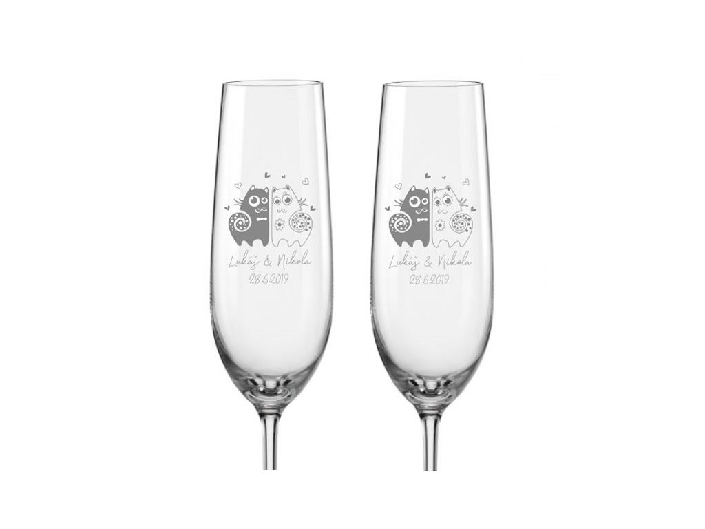 Svatební skleničky na sekt Zamilované kočky, 2ks