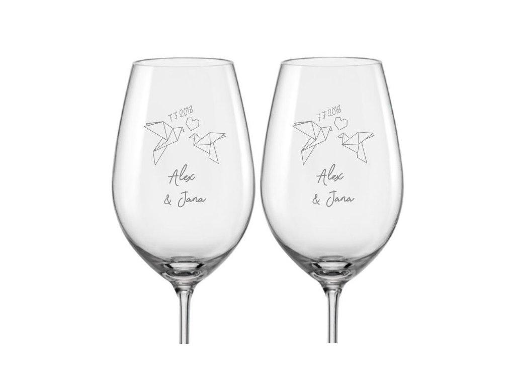 Svatební skleničky na víno Hrdličky origami, 2ks