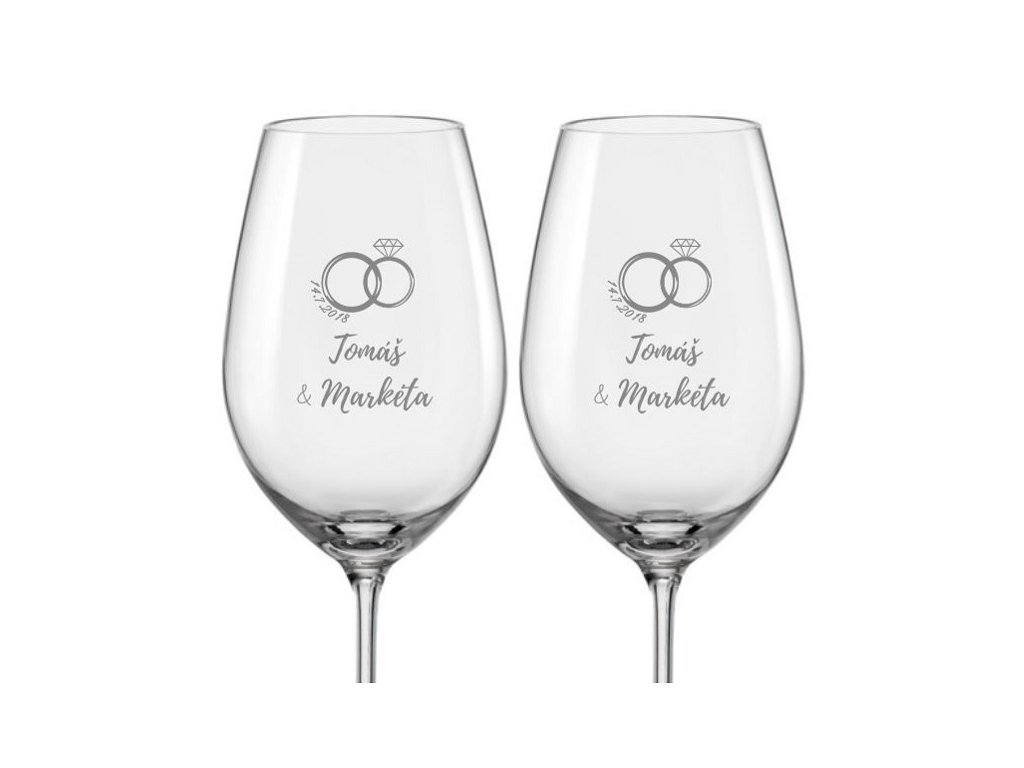 Svatební skleničky na víno Prstýnek s drahokamem, 2ks