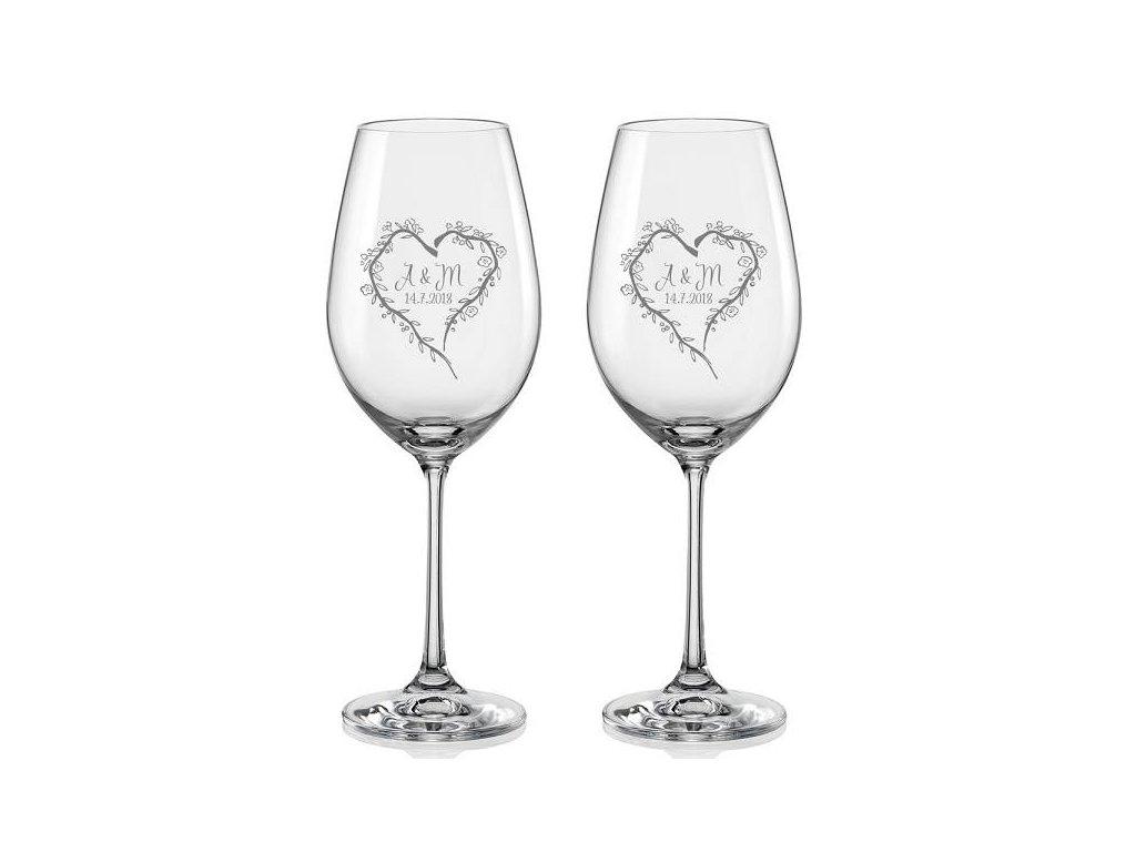 Svatební skleničky na víno Srdce z větviček, 2ks