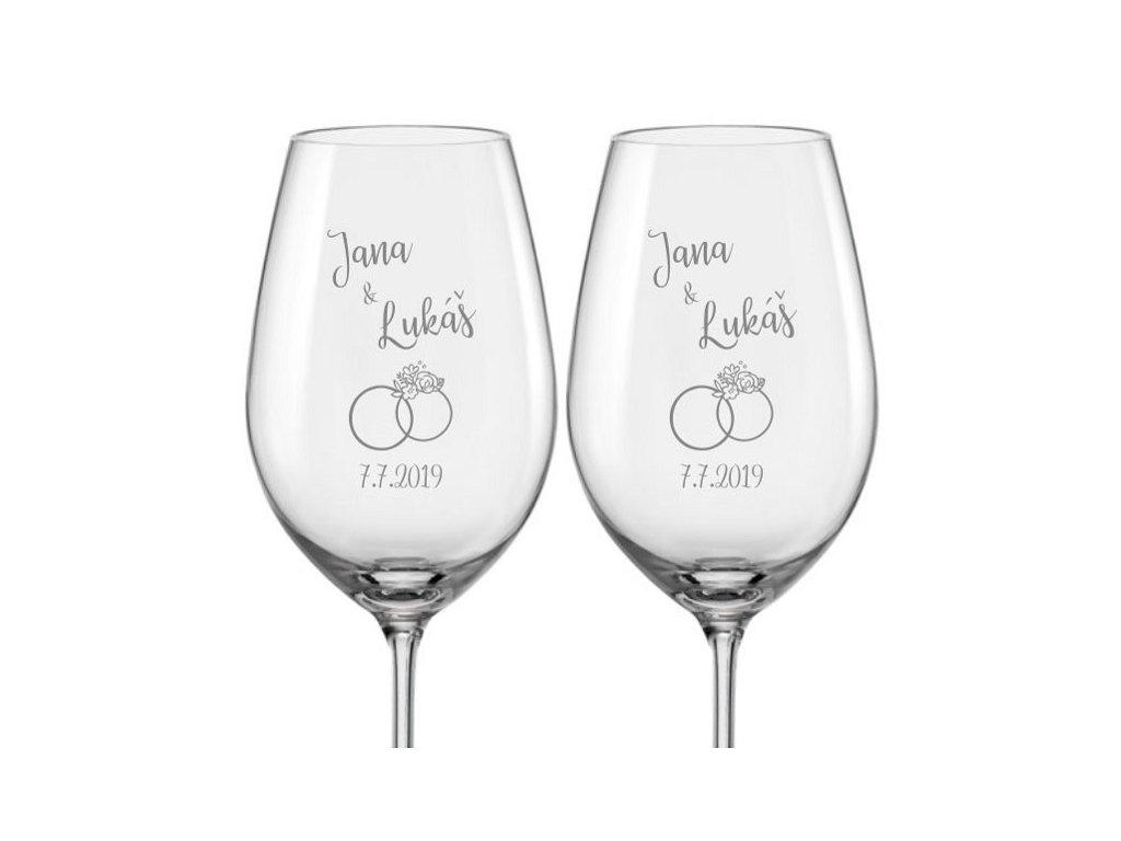 Svatební skleničky na víno Prstýnek s květy, 2ks