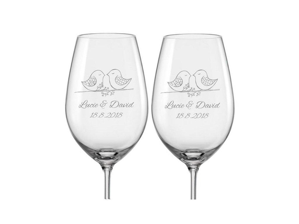 Svatební skleničky na víno Ptačí souznění, 2ks