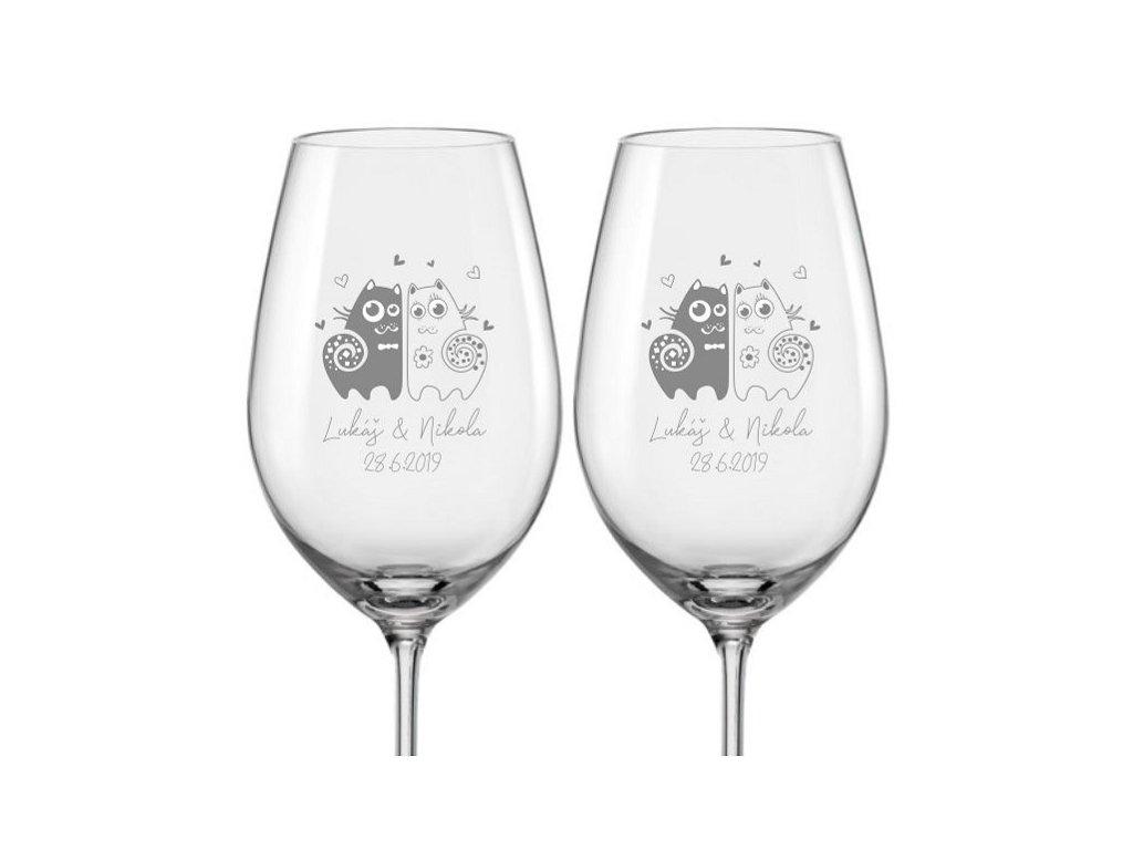 Svatební skleničky na víno Zamilované kočky, 2ks
