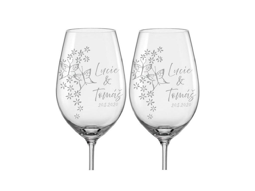 Svatební skleničky na víno Motýlci, 2ks
