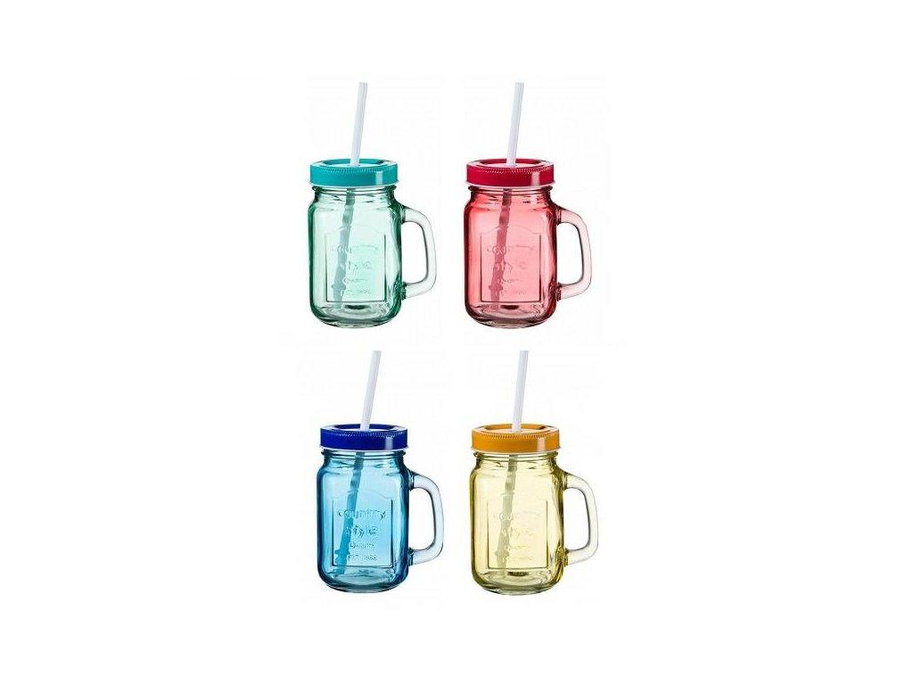 barevné sklenice s uchem a brčkem