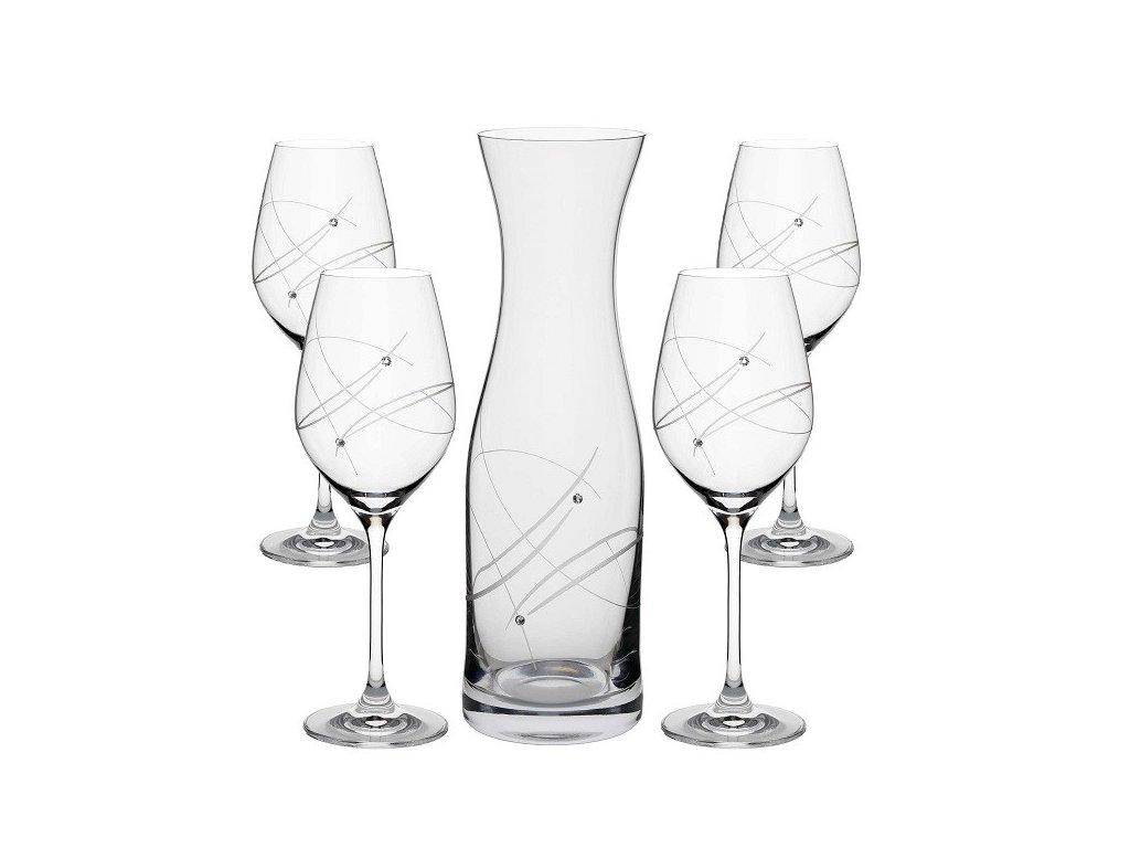 set sklenice na vino karafa swarovski modern vital