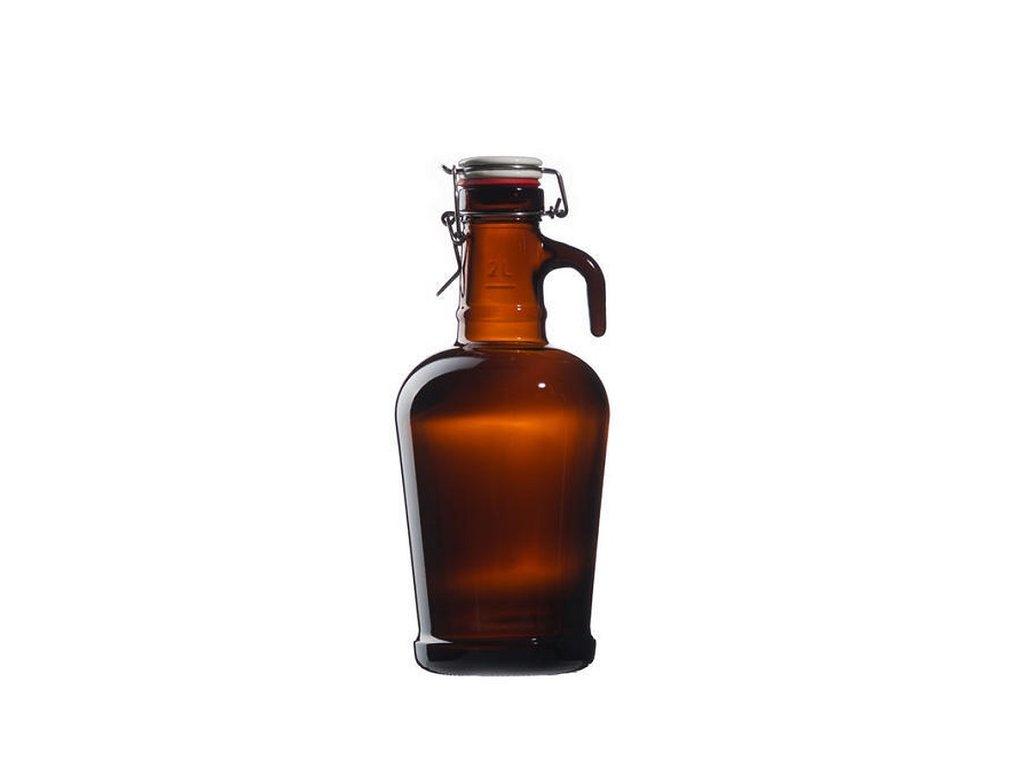 schmit pivni lahev s uzaverem tmave sklo 2 l
