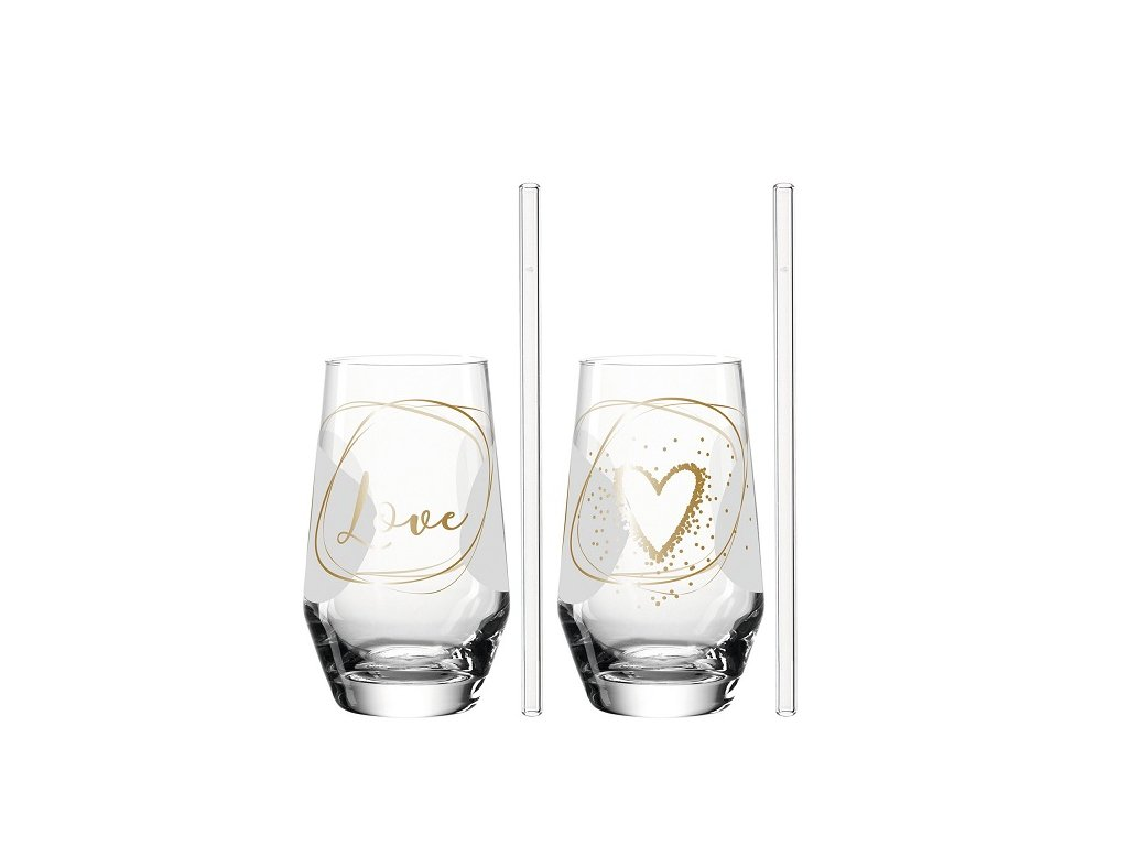 Leonardo sklenice na long drink pro dva se skleněným brčkem 029184
