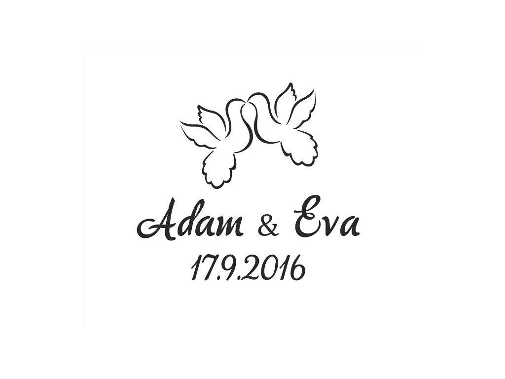 Pískování motivu HRDLIČKY s datem svatby na kalíšku sklenice