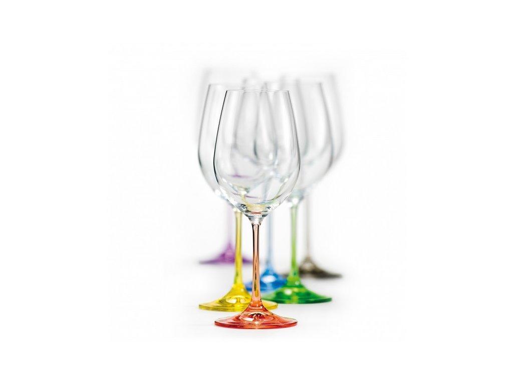 Crystalex Barevné sklenice na víno Viola Rainbow 350 ml