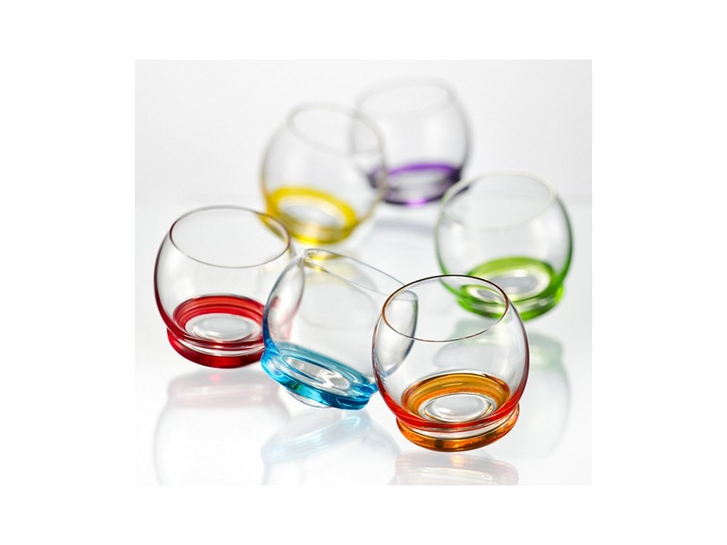 Crystalex Barevné tančící skleničky CRAZY 390 ml
