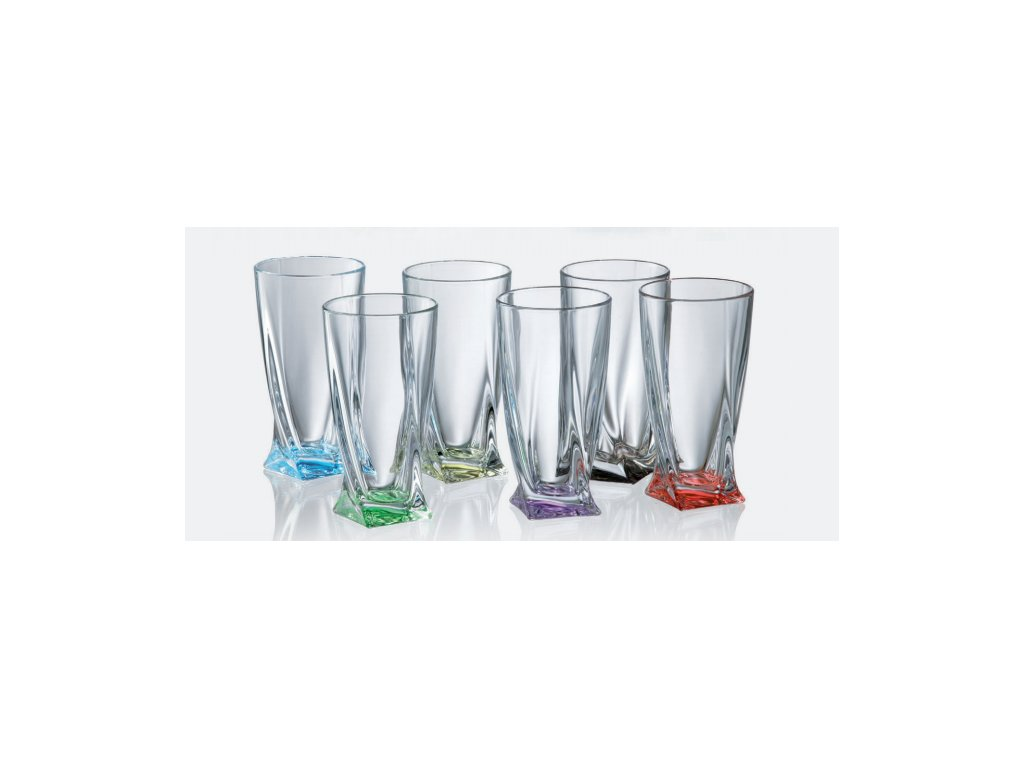 Crystalite Bohemia Barevné sklenice Quadro 350 ml, 6 ks