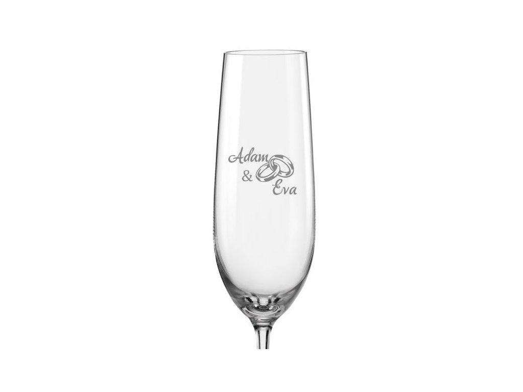 Svatební skleničky Prstýnky s datem na dýnku