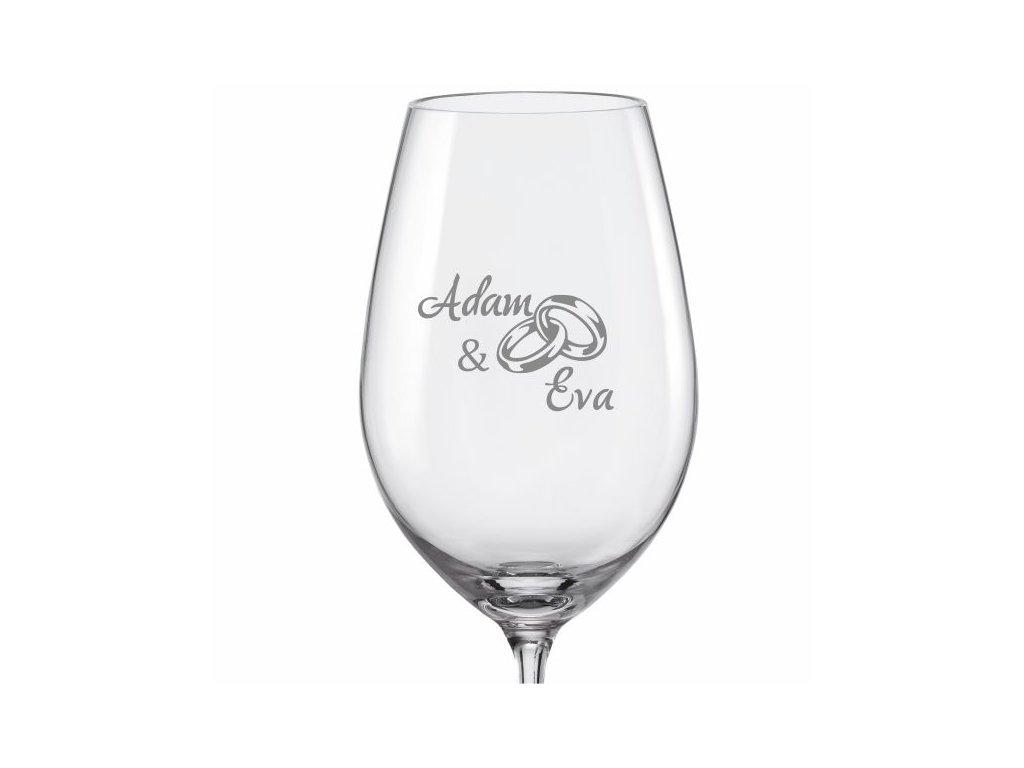 Svatební skleničky na víno Prstýnky s datem na dýnku