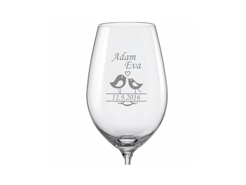 Svatební skleničky na víno Ptáčci 2