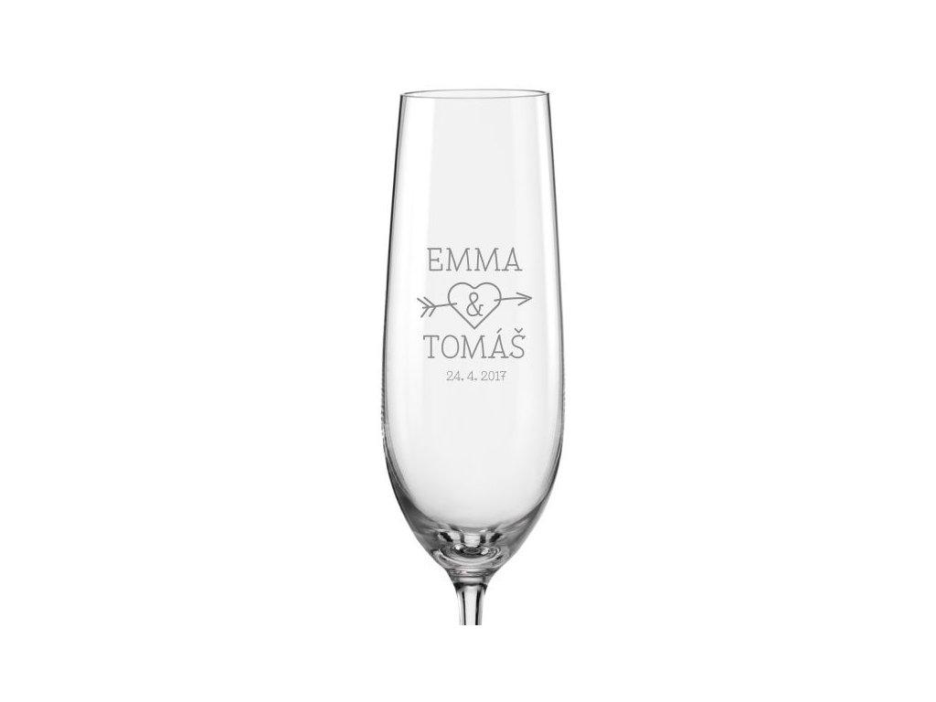 propíchnuté srdce svatební skleničky s21Viola 190 v