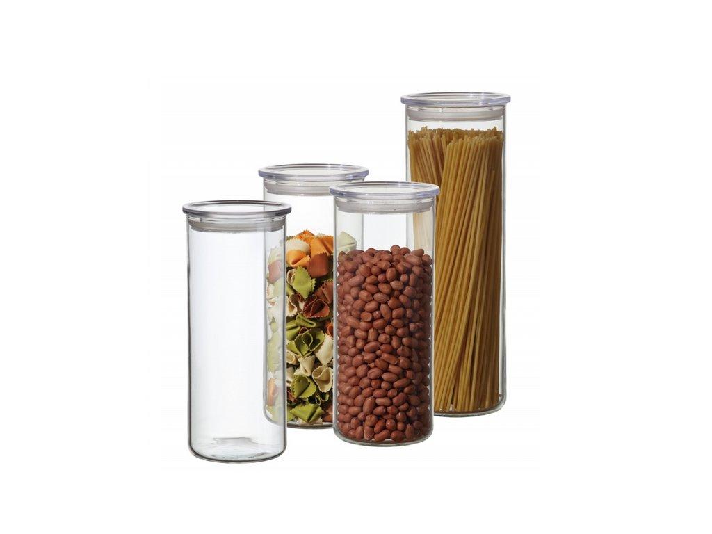 Simax Sada skleněných potravinových zásobníků s těsnícími víčky, 4 ks
