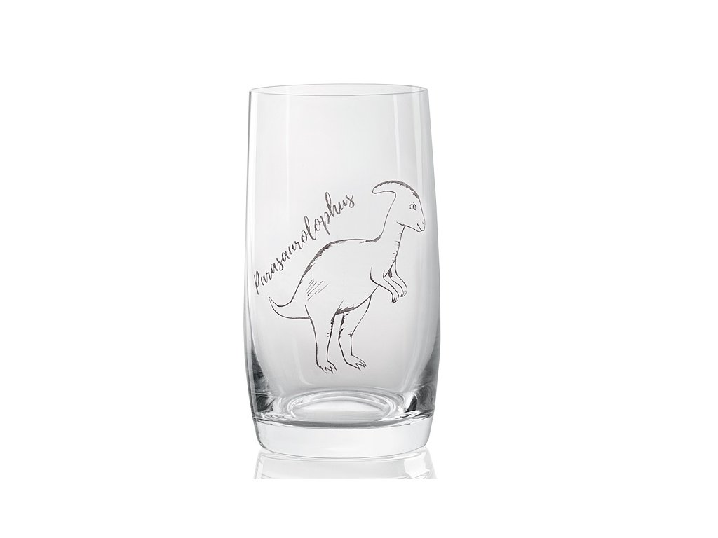 sklenička s dinosaurem Parasaurolophus