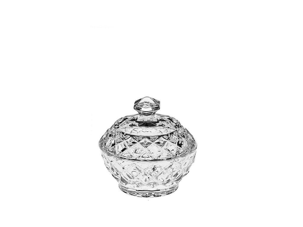 crystal bohemia diamond skleněná dóza 96 mm