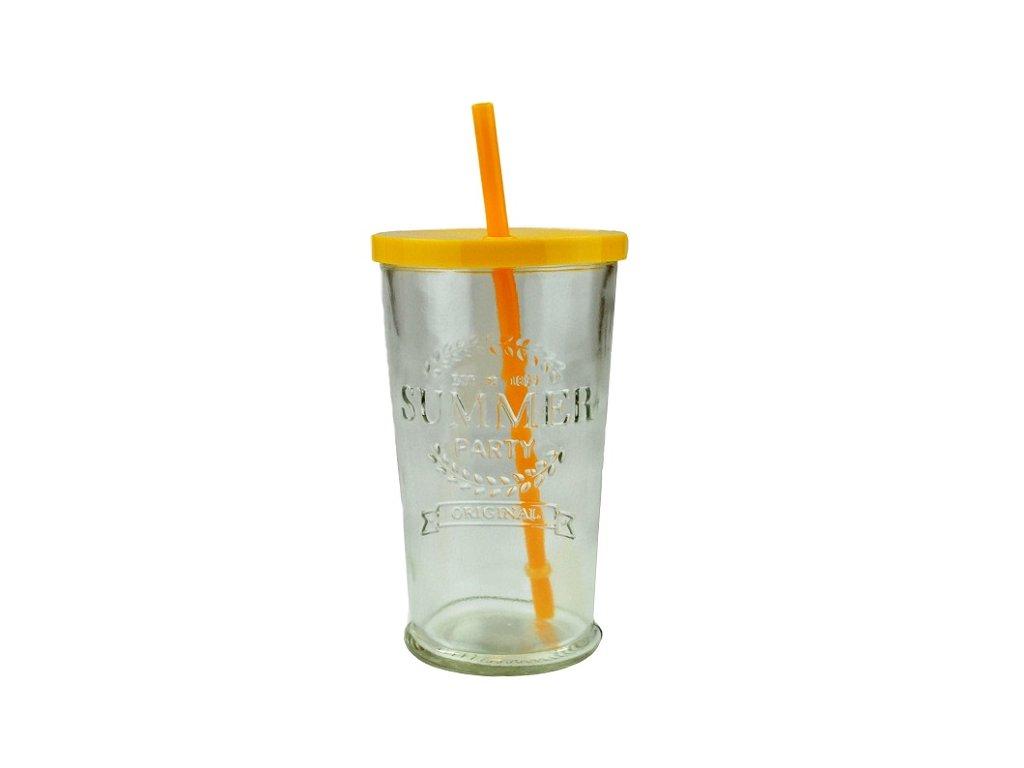 sklenice s brčkem summer fun 0,5 l žlutá