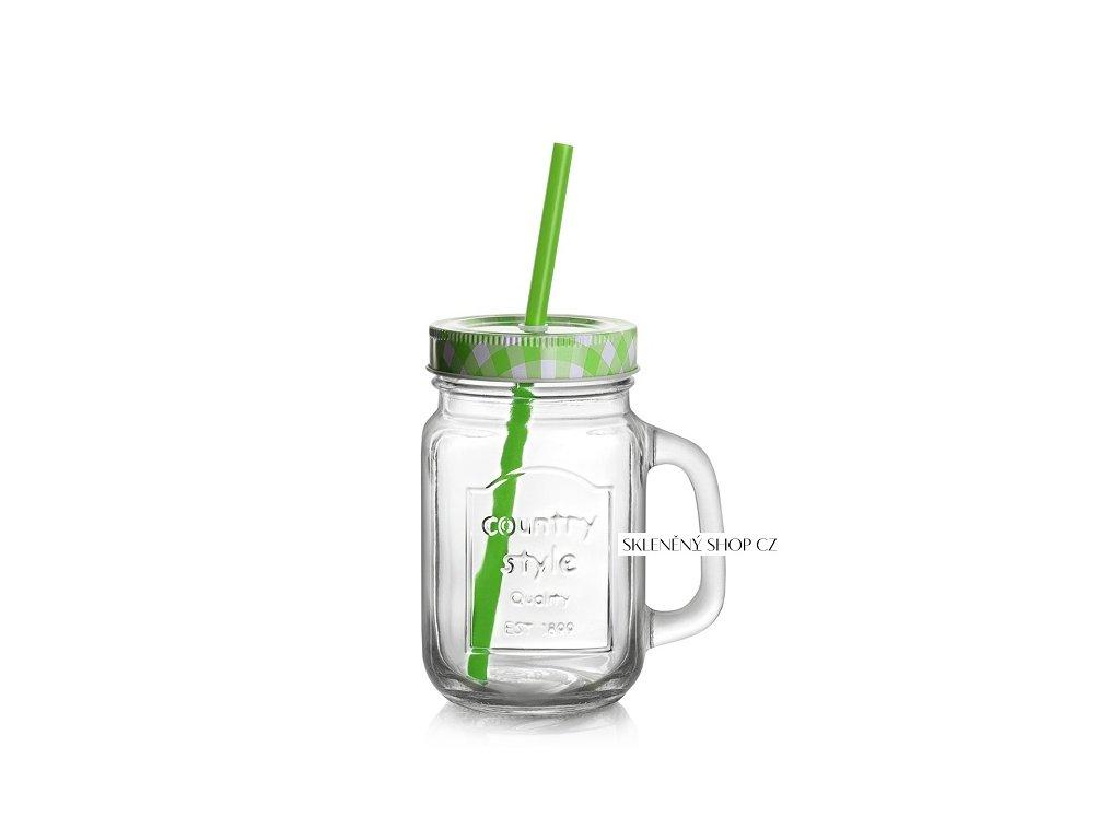 sklenice s víčkem summer fun zelená
