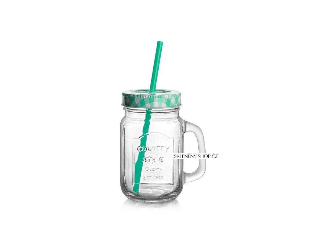 sklenice s víčkem summer fun modrá