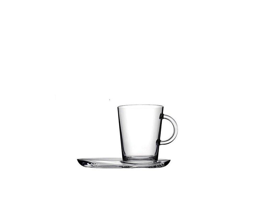 skleněný hrnek na čaj s podšálkem