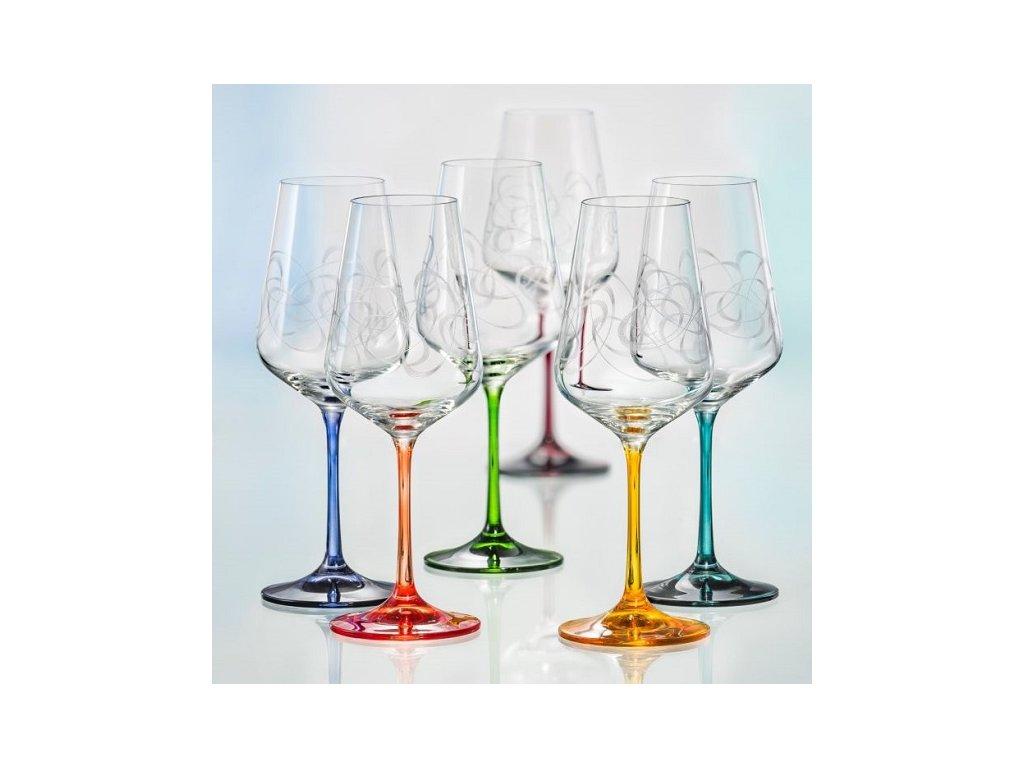 Barevné dekorované sklenice na víno Sandra Skleněný shop cz