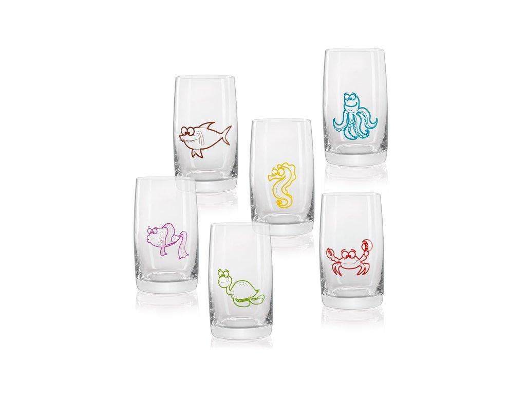 dětské skleničky s mořskými zvířaty