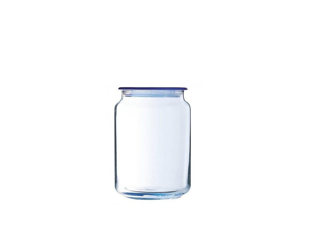 Luminarc skleněná dóza na potraviny RONDO ICE CUBE blue 0,75