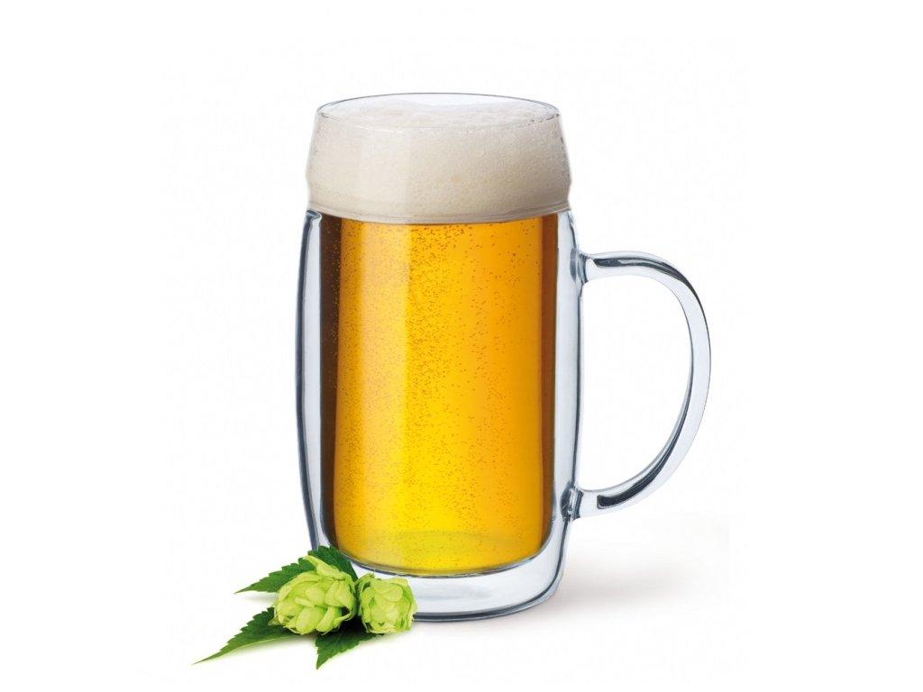 simax pivní půllitr dvoustěnné sklo