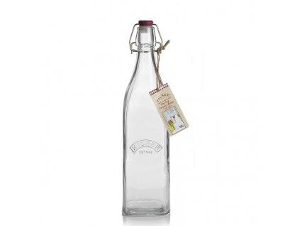skleněná láhev hranatá Kilner s klipem 1 l