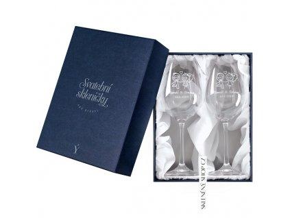 Svatební skleničky v dárkové krabičce s bilým saténem Skleněný shop cz