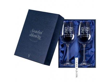 Svatební skleničky v dárkové krabičce s modrým saténem Skleněný shop cz