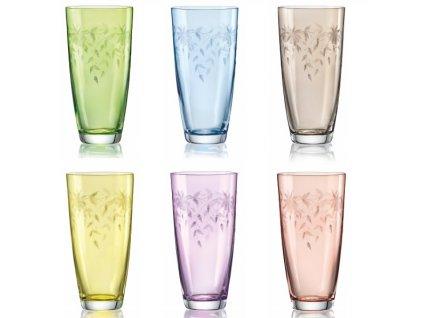 Crystalex barevné sklenice na pití Florale 350 ml