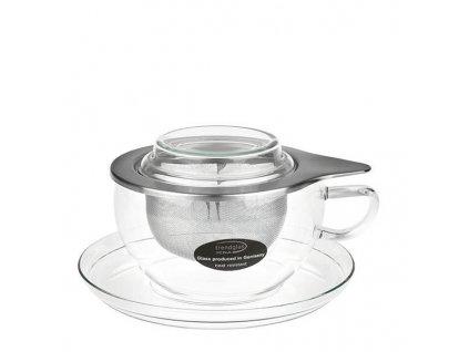 Trendglas JENA Skleněný šálek se sítkem TEA TIME 300 ml