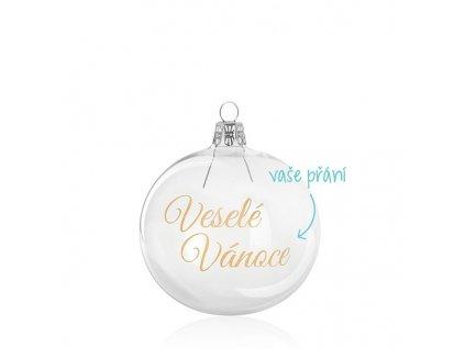 skleněná vánoční baňka s přáním