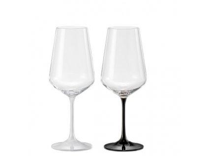 sklenice s bílou a černou nožkou Crystalex