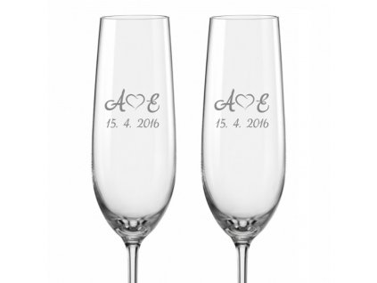 Svatební skleničky na sekt Monogram se srdíčkem, 2ks