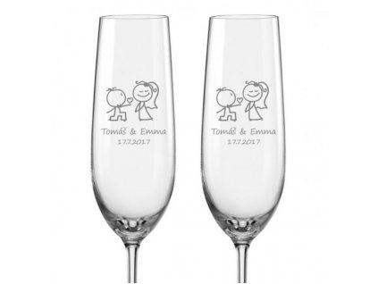 Svatební sklenička na sekt Zamilovaní novomanželé, 2ks