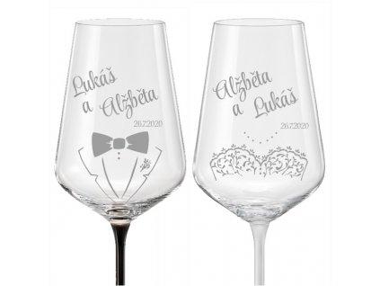 svatební skleničky ženich a nevěsta