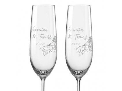 Svatební skleničky na sekt Svatební kytice, 2ks