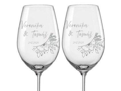 Svatební skleničky na víno Svatební kytice, 2ks
