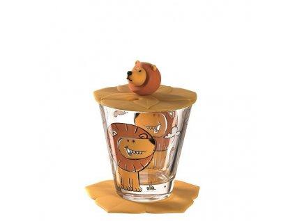 Leonardo Dětská sklenička s víčkem Bambini Lion
