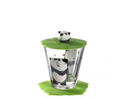 Leonardo Dětská sklenička s víčkem Bambini Panda