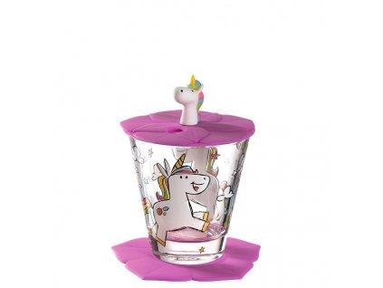 Leonardo Dětská sklenička s víčkem Bambini Jednorožec